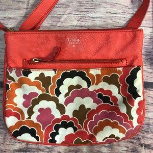 Fossil crossbody purse handbag orange floral